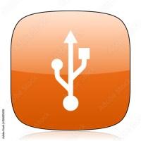 """usb orange square web design glossy icon"" Stock photo and ..."