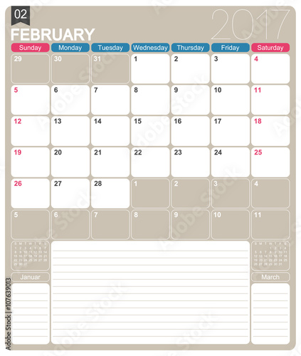 English calendar 2017 / February 2017, English printable monthly