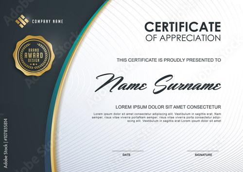 certificate template with Luxury and modern pattern,Qualification - blank certificate template