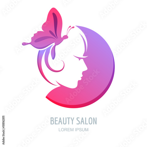 Female profile in circle shape Woman with purple butterfly in hair