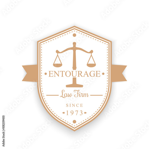 Law Firm vintage logo, emblem, justice, law office badge on shield
