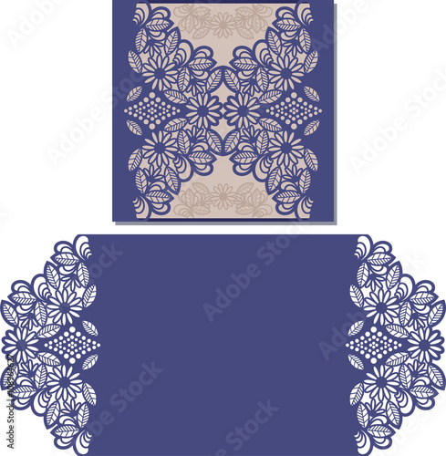 Paper cut out card Laser cut pattern for invitation card for