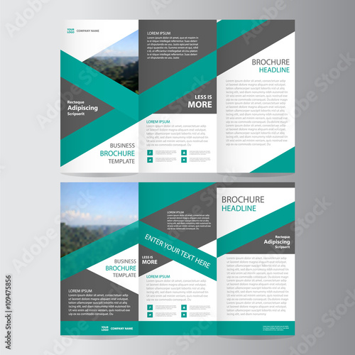 Green trifold Leaflet Brochure Flyer template design, Abstract
