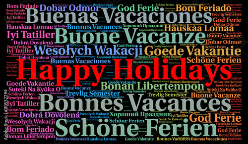 Happy holidays in different languages word cloud \