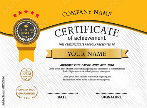 gold medal yellow background certificate template vector