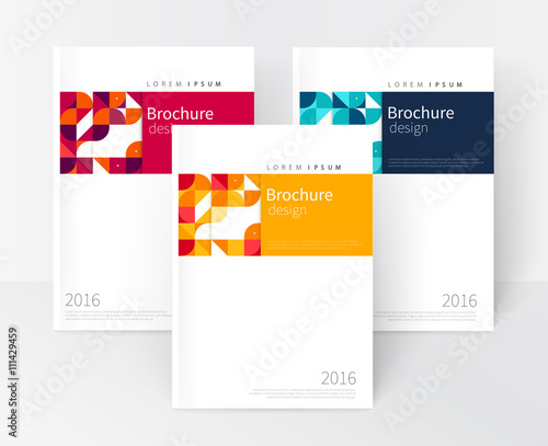 Vector set Red, Yellow, Blue Business brochure cover template cover