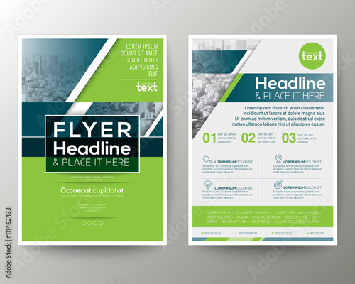 Green and Blue Geometric Poster Brochure Flyer design Layout vector