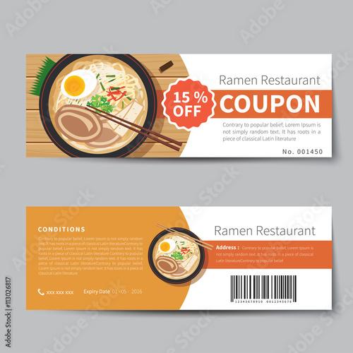 japanese food coupon discount template flat design\