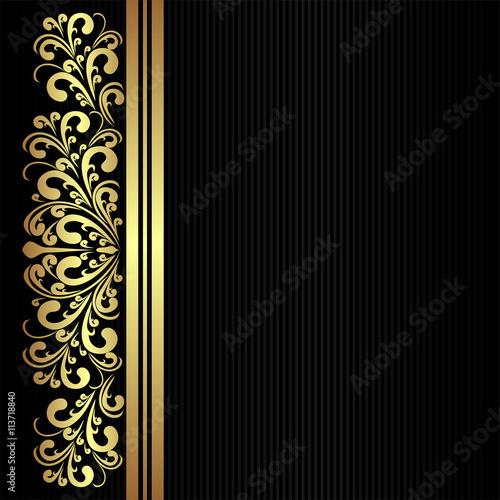 Elegant black Background with floral golden Borders\