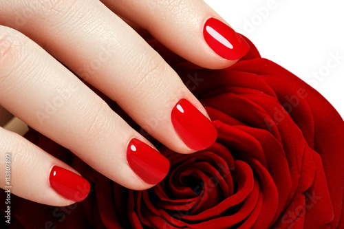 Quotmanicure Beautiful Manicured Woman39s Hands With Red Nail