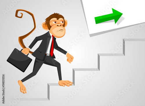 Quotmonkey Businessman Running Up Stairsquot