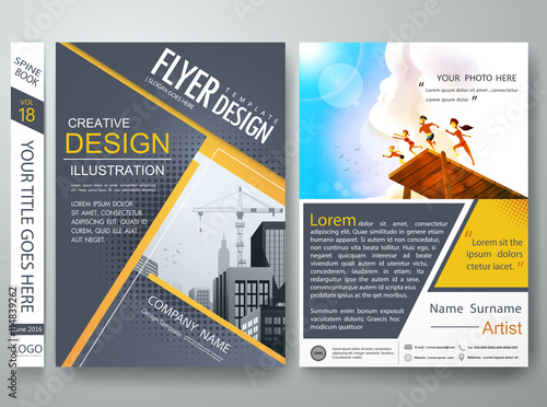 Flyers design template vectorBrochure report business magazine