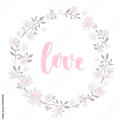 Hand drawn flowers wreath frame with lettering word love Round - frame for cards
