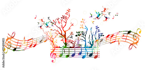 Colorful music background with music notes and hummingbirds\