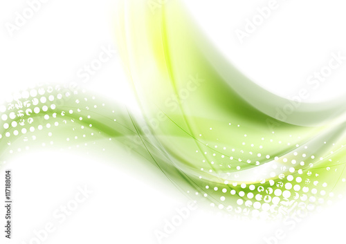 Abstract green waves vector background\