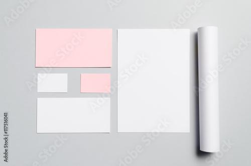 Branding / Stationery Mock-Up - Pink  White Letterhead (A4), DL