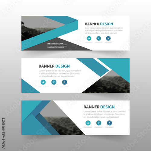 Blue abstract triangle corporate business banner template