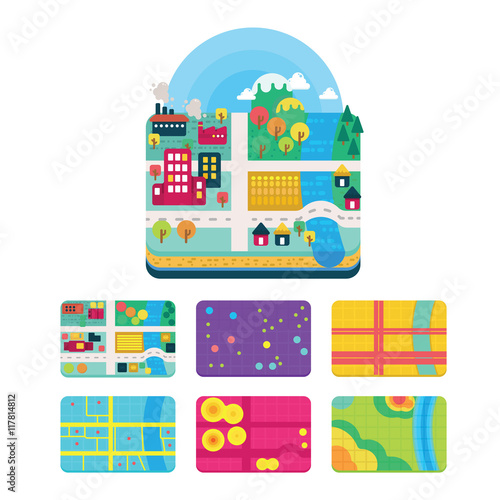 Vector Illustration of GIS Spatial Data Layers Concept for Info