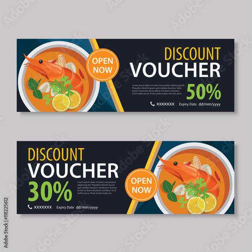 discount voucher template with thai food flat design - food voucher template