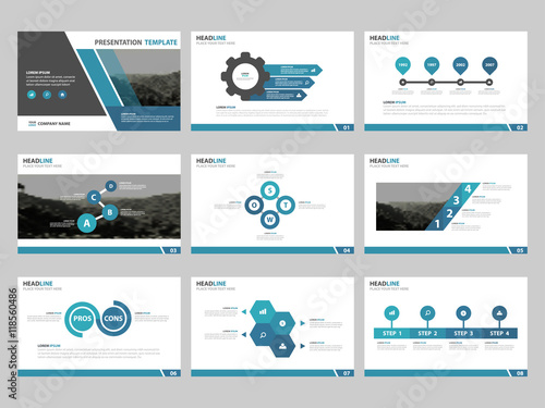 Blue Abstract presentation templates, Infographic elements template