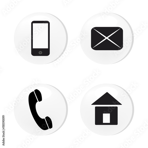 Vector contact buttons email, phone, mobile, address, icons, eps