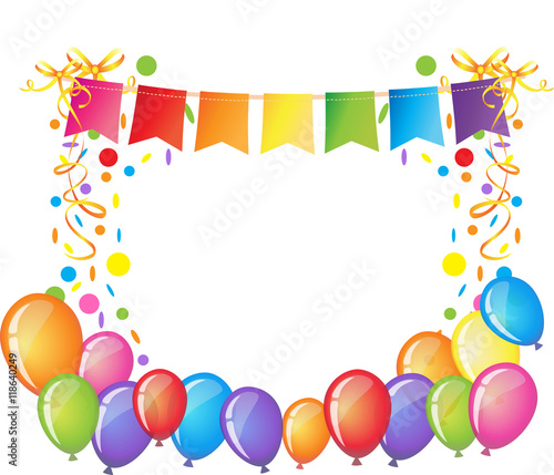 Celebration background with colorful confetti, ribbons and balloons