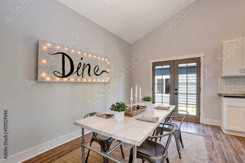 Quotview Of Dining Table With Wooden Top And Metal Chairs