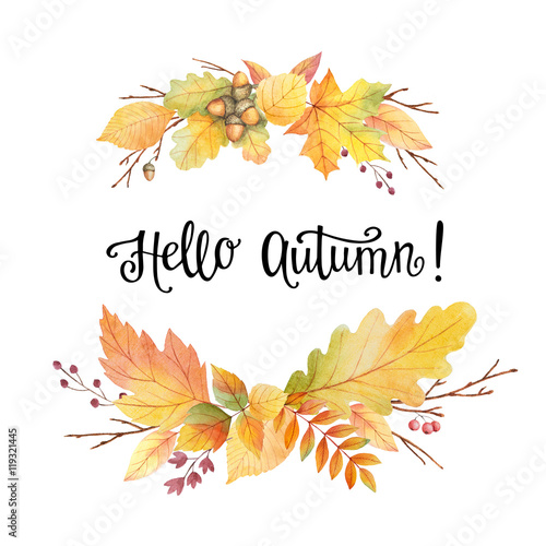 Fall Harvest Wallpaper Christian Quot Hello Autumn Watercolor Wreath With Colored Leaves And