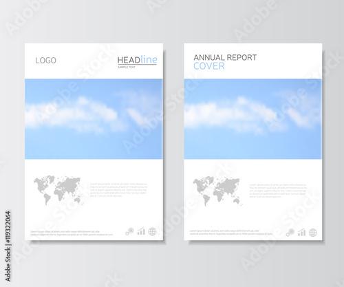 White annual report cover, brochure template Presentation template