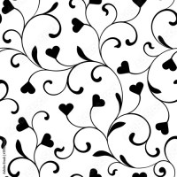"""""""Elegant seamless pattern with swirls and hearts on a ..."""