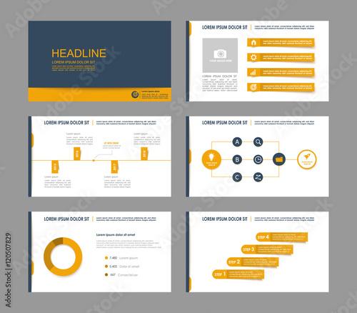 Set of orange infographic elements for presentation templates