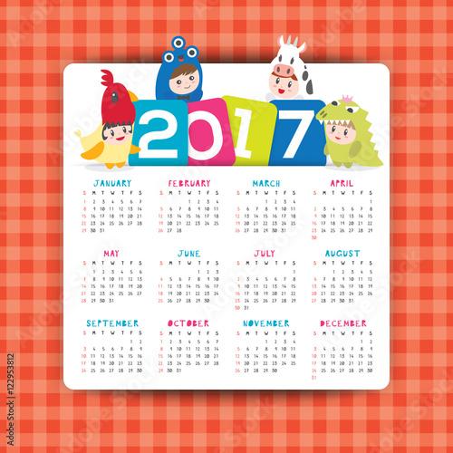 2017 calendar vector template with kids cartoon character\ - kids calendar template