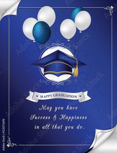 Blue Happy Graduation greeting card Congratulation for your - congratulation graduation