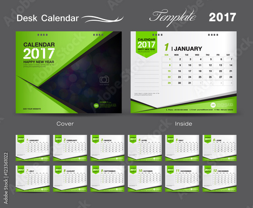 set Green Desk Calendar 2017 template design, cover Desk Calendar