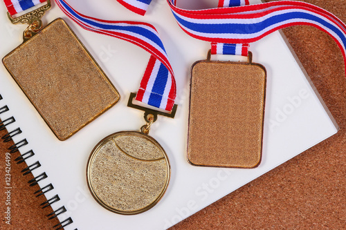 Collection of blank coins or golden medals Blank templates of gold
