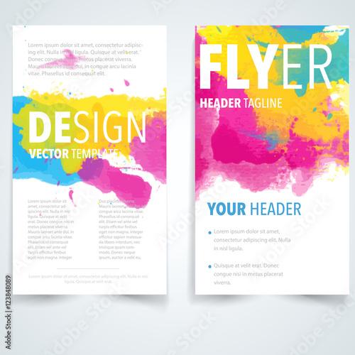 Brochure design template vectorFlyers report business watercolor