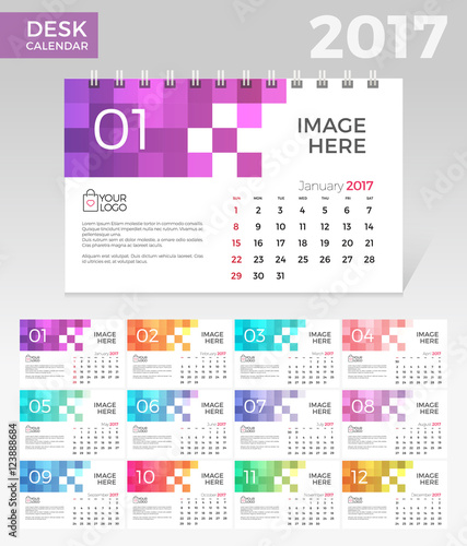 Calendar 2017 Vector template Minimal Simple Monthly calendar - calendar template for website
