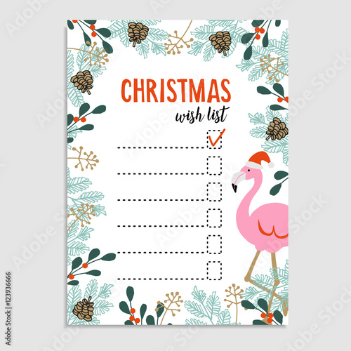 Cute Christmas card, wish list Flamingo with Santa hat and floral - christmas wish list paper