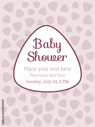 Baby Shower / Birthday party invitation card template, for baby girl