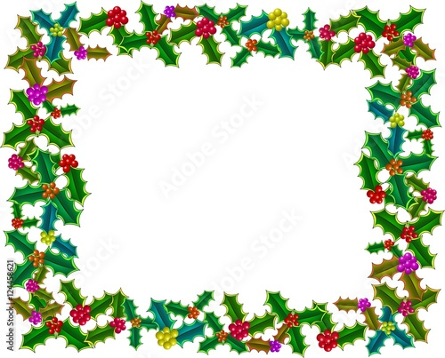A festive page border decoration with Christmas holly\