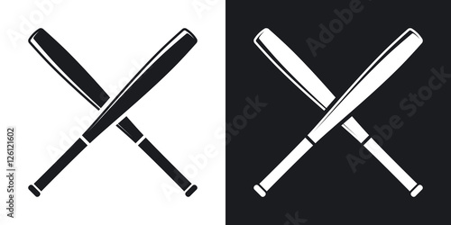Vector crossed baseball bats icon Two-tone version on black and