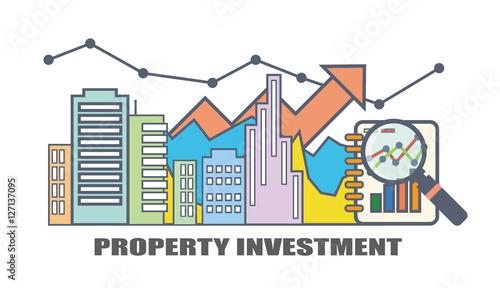 Flat line illustration design for property investment, real Estate