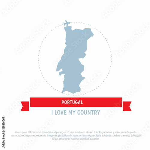 Travel around the Portugal Country map Ribbon banner with map and