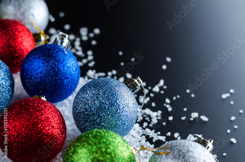 Christmas Background Theme Multi-Colored Christmas Balls (Red, Blue - christmas theme background