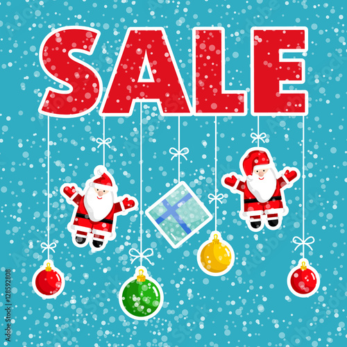 Christmas sale poster Colorful christmas tree toys, santa claus - christmas toy sales