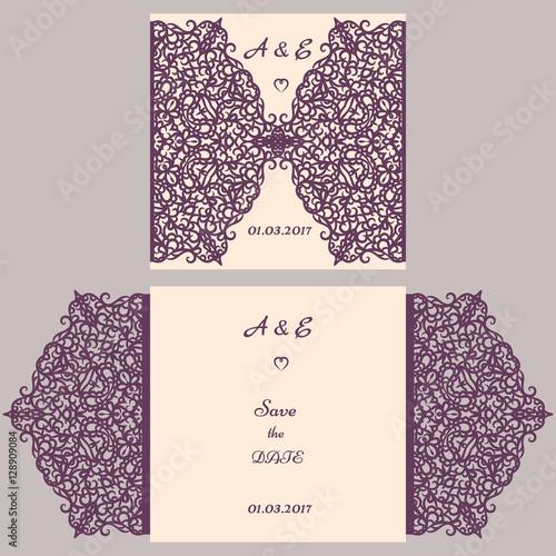 Wedding cutout invitation template Suitable for lasercutting
