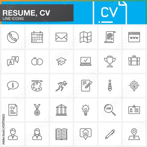 Line Icons set for Resume or CV Outline vector symbol collection - cv outline