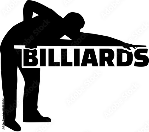 Silhouette pool player with billiards word\