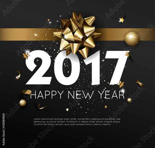 Happy New Year 2017 greeting card or poster template flyer - new year poster template