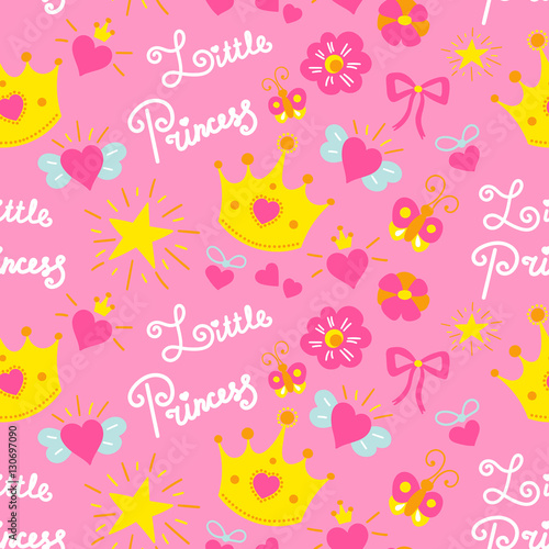 Pink little princess pattern vector Sweet baby background for - template for a birthday card